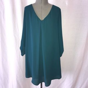 New W Tags LUSH teal V-neck dress XS
